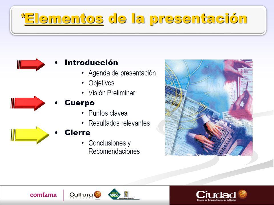 *Elementos de la presentación