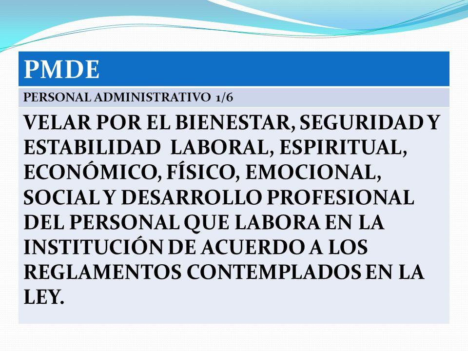 PMDE PERSONAL ADMINISTRATIVO 1/6.
