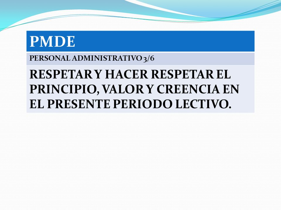 PMDE PERSONAL ADMINISTRATIVO 3/6.