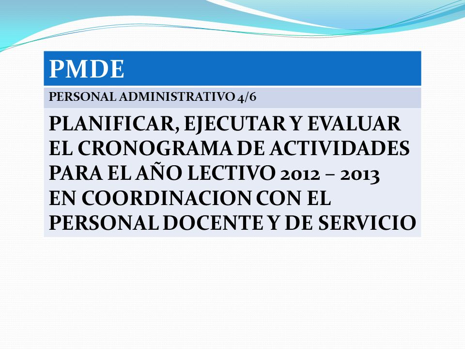 PMDE PERSONAL ADMINISTRATIVO 4/6.
