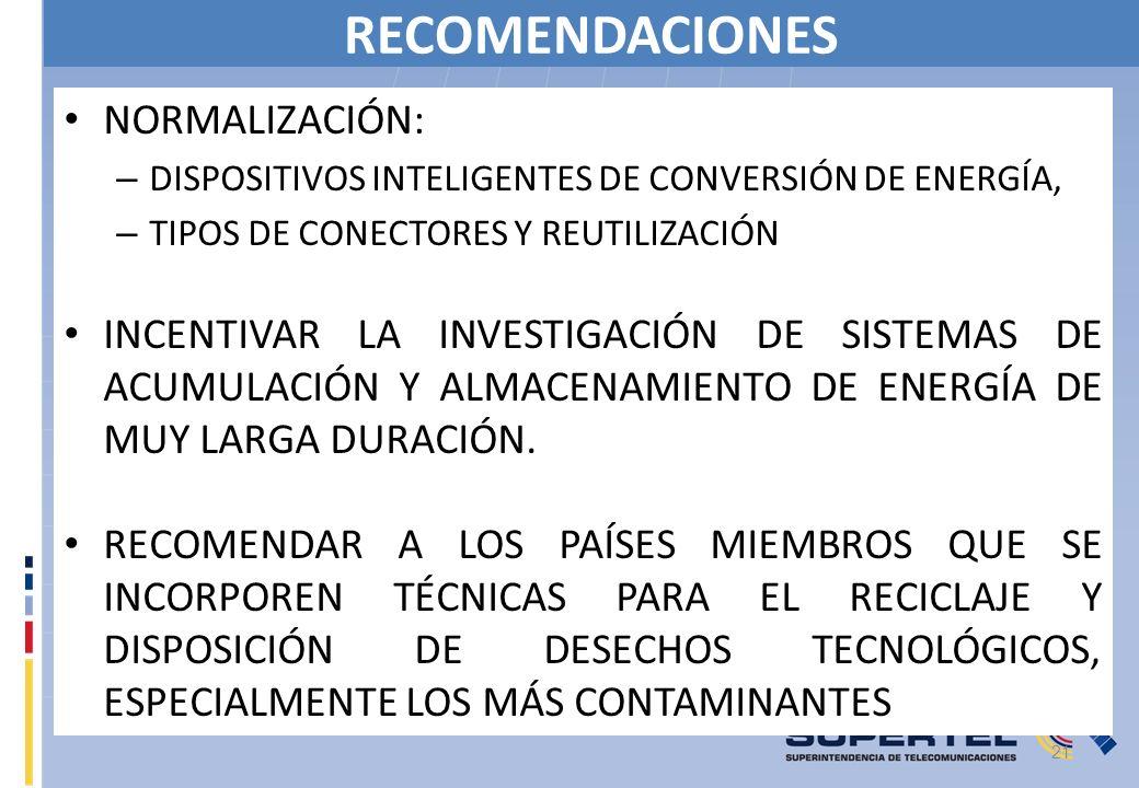 RECOMENDACIONES NORMALIZACIÓN: