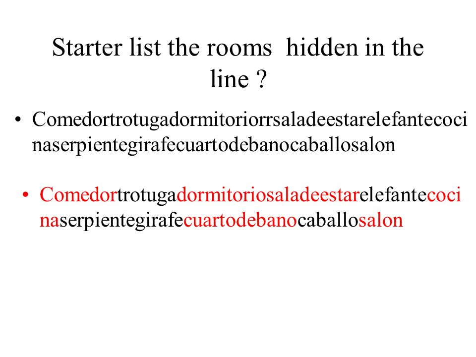 Starter list the rooms hidden in the line