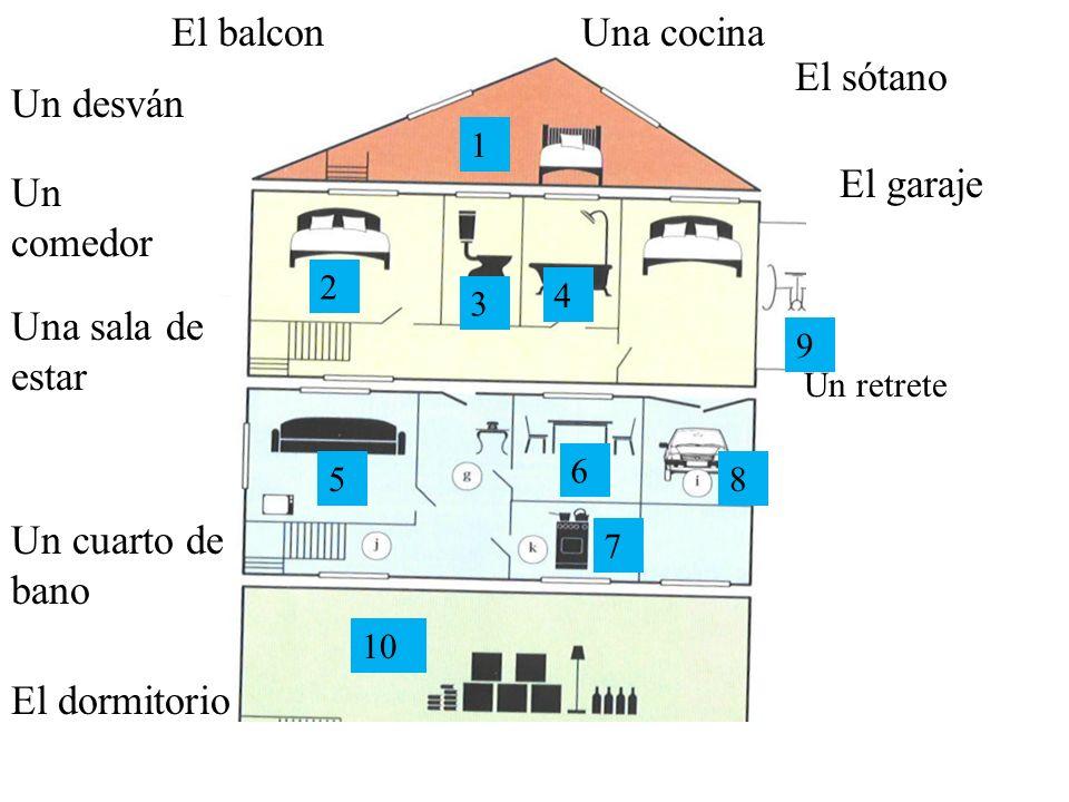 El balcon Una cocina El sótano Un desván El garaje Un comedor
