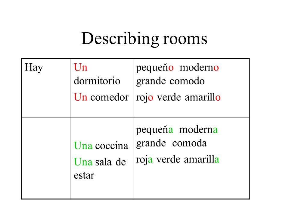 Describing rooms Hay Un dormitorio Un comedor Una coccina