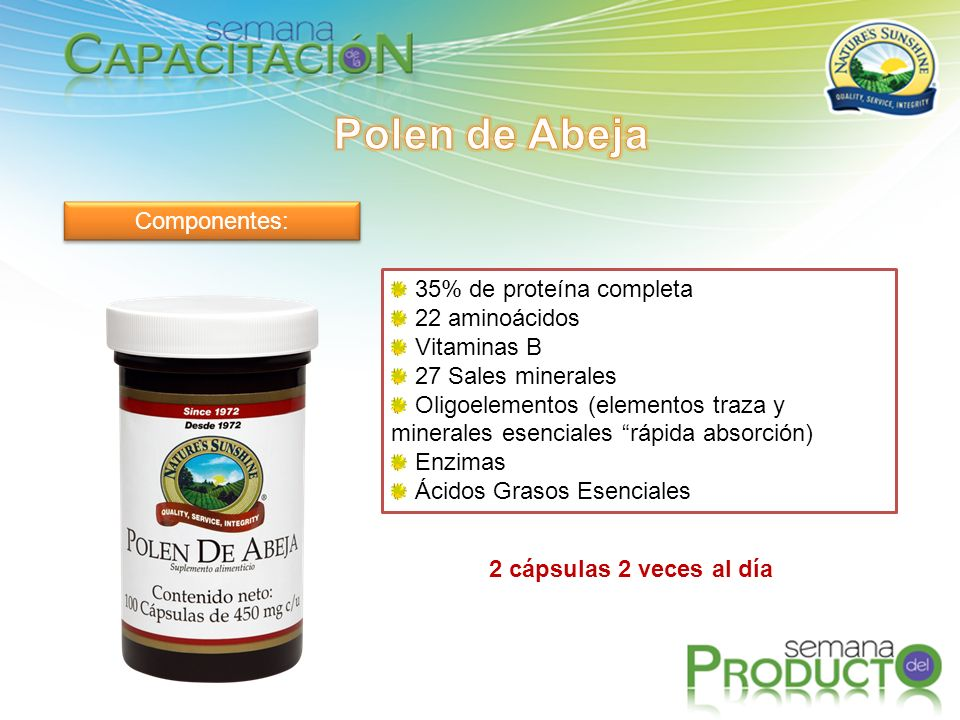 Polen de Abeja Componentes: 35% de proteína completa 22 aminoácidos