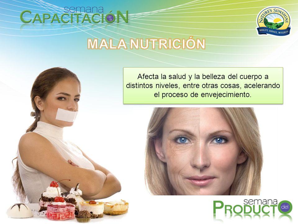 MALA NUTRICIÓN Afecta la salud y la belleza del cuerpo a distintos niveles, entre otras cosas, acelerando el proceso de envejecimiento.