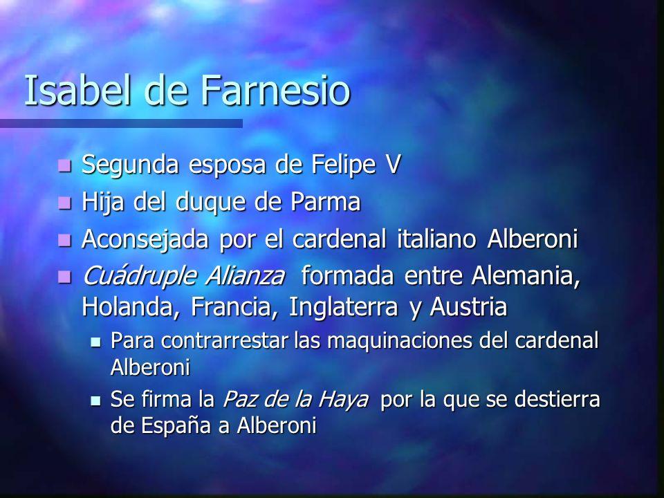 Isabel de Farnesio Segunda esposa de Felipe V Hija del duque de Parma