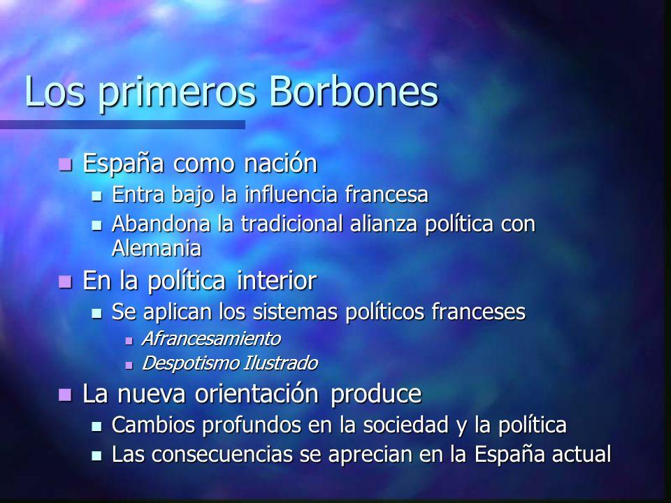 Los primeros Borbones España como nación En la política interior