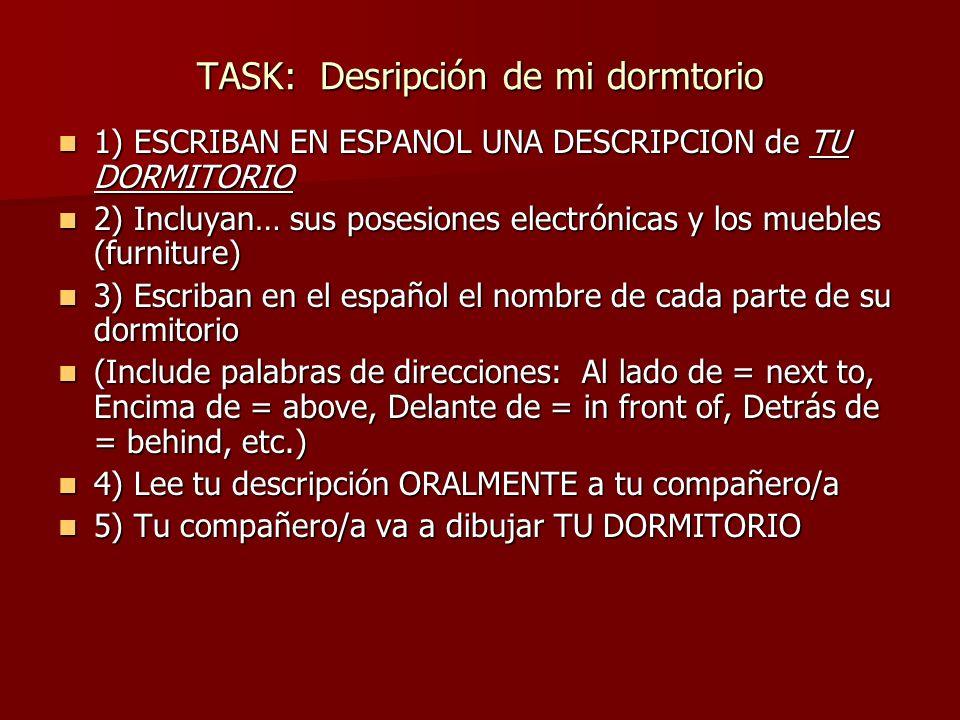 TASK: Desripción de mi dormtorio