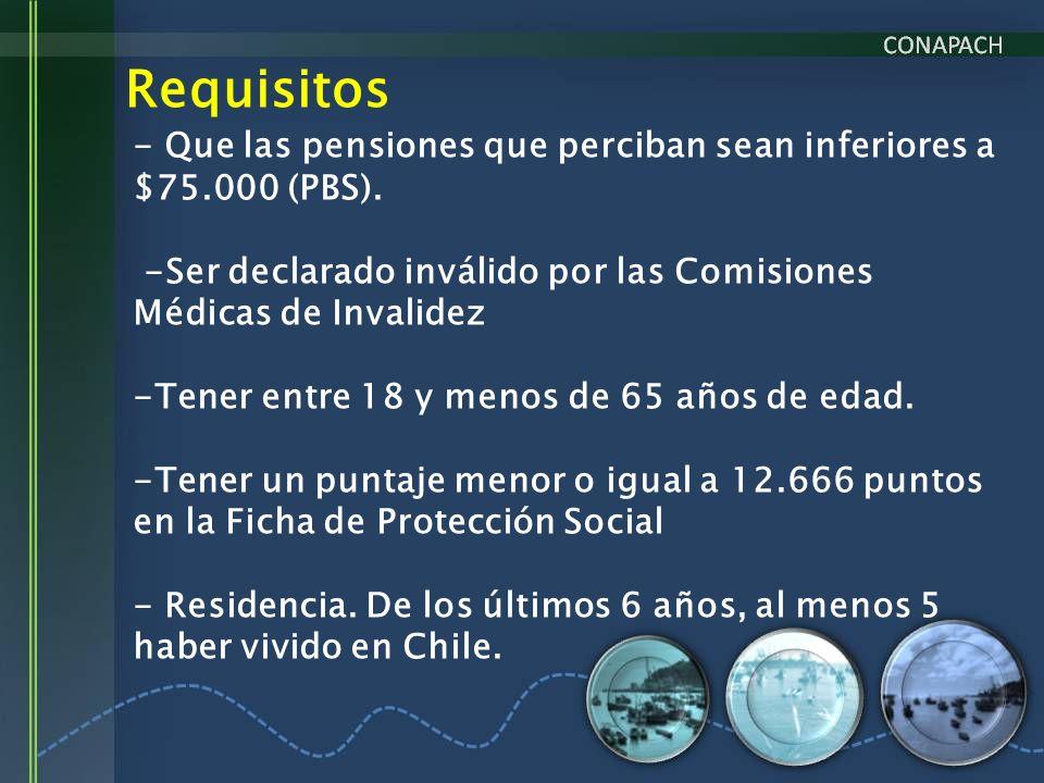Requisitos - Que las pensiones que perciban sean inferiores a $75.000 (PBS). -Ser declarado inválido por las Comisiones Médicas de Invalidez.