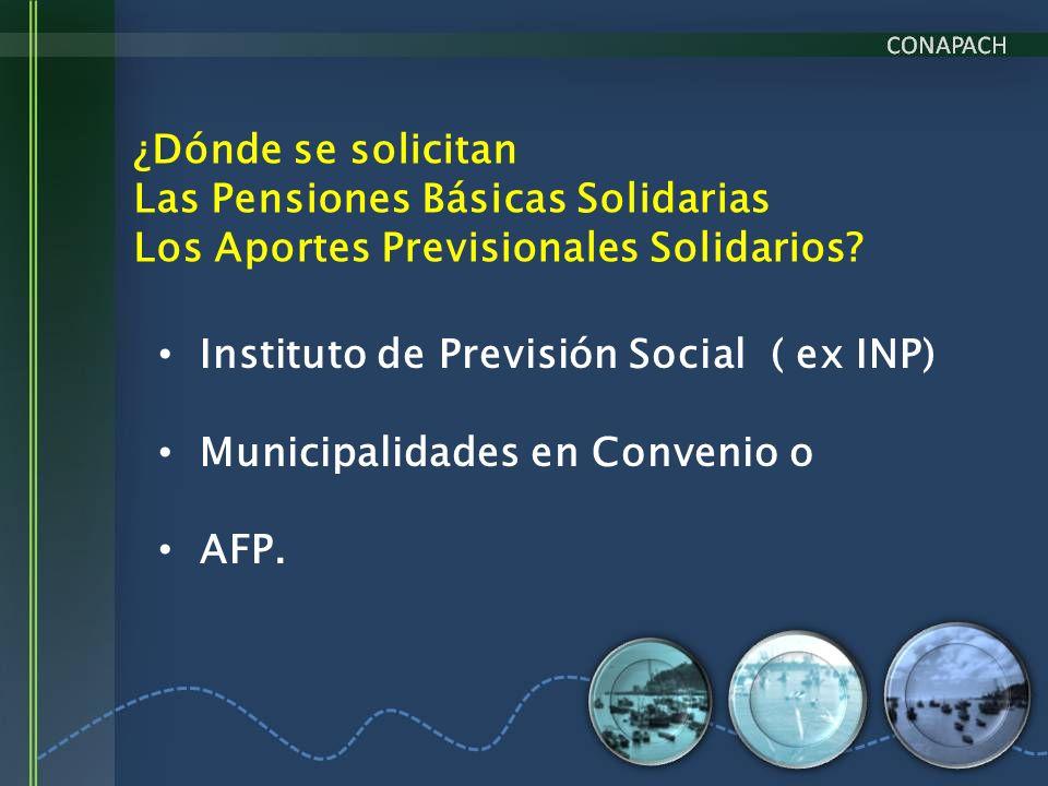 ¿Dónde se solicitan Las Pensiones Básicas Solidarias. Los Aportes Previsionales Solidarios Instituto de Previsión Social ( ex INP)