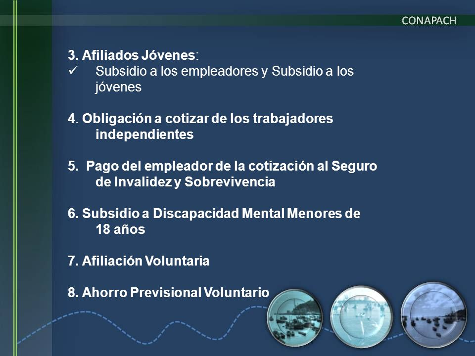 3. Afiliados Jóvenes: Subsidio a los empleadores y Subsidio a los jóvenes. 4. Obligación a cotizar de los trabajadores independientes.