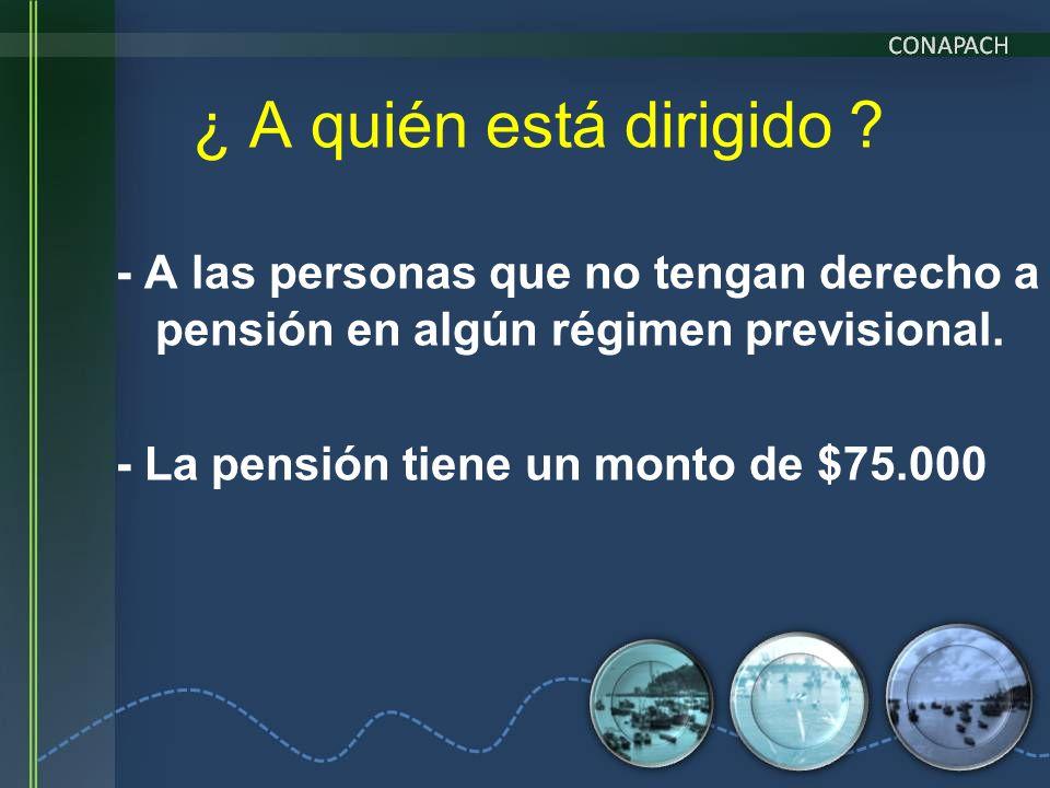 ¿ A quién está dirigido - A las personas que no tengan derecho a pensión en algún régimen previsional.