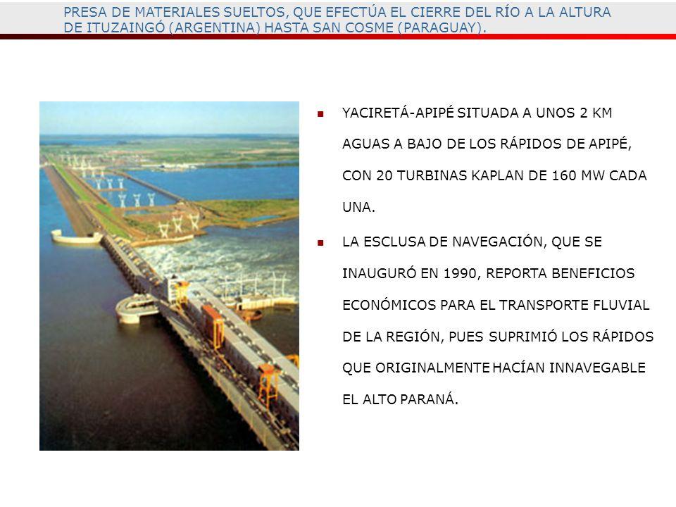 PRESA DE MATERIALES SUELTOS, QUE EFECTÚA EL CIERRE DEL RÍO A LA ALTURA DE ITUZAINGÓ (ARGENTINA) HASTA SAN COSME (PARAGUAY).
