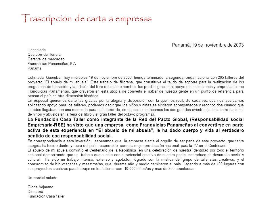 Trascripción de carta a empresas