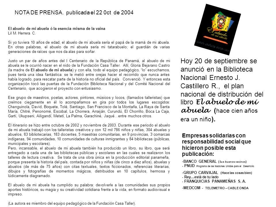 NOTA DE PRENSA. publicada el 22 0ct de 2004