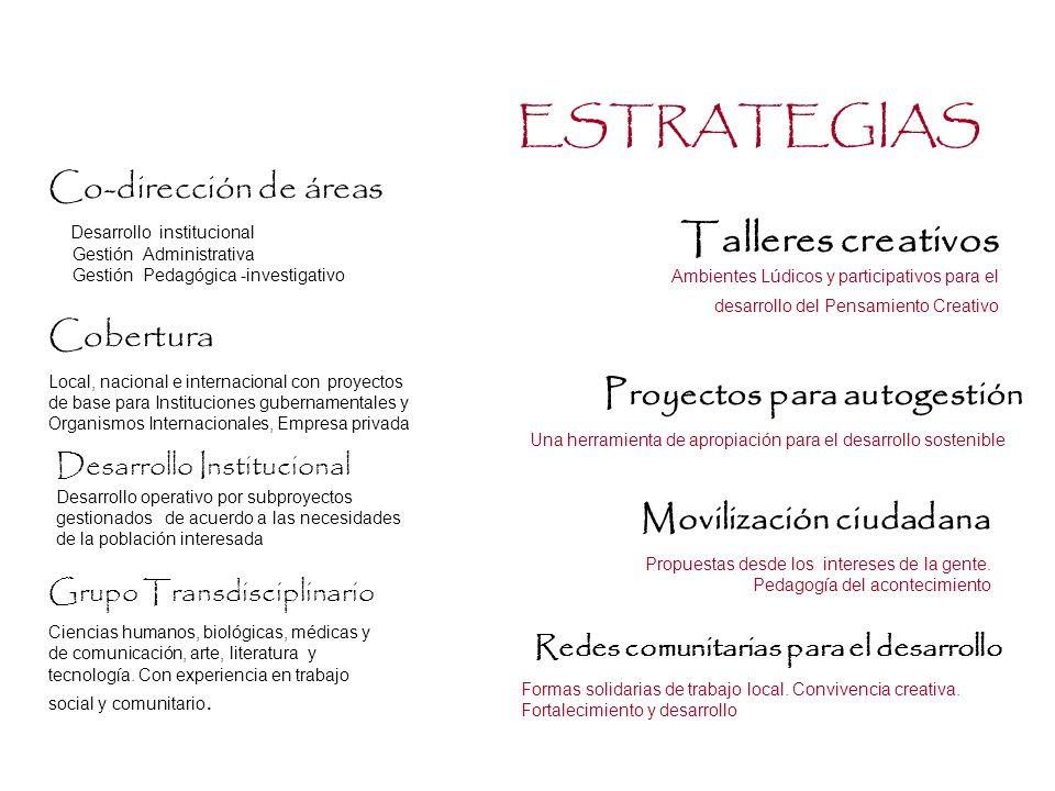ESTRATEGIAS Talleres creativos Co-dirección de áreas Cobertura
