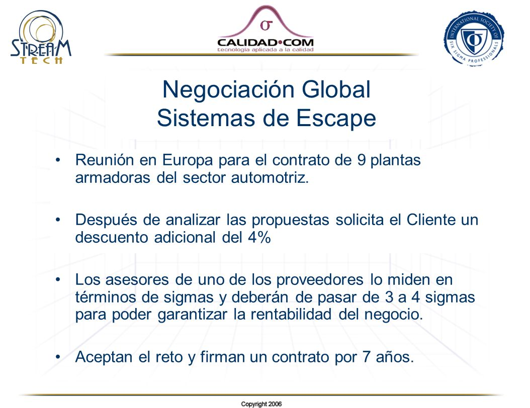 Negociación Global Sistemas de Escape