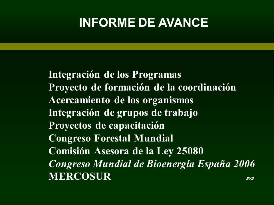 INFORME DE AVANCE Integración de los Programas