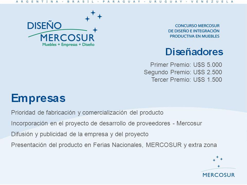 Primer Premio: U$S 5.000 Segundo Premio: U$S 2.500. Tercer Premio: U$S 1.500. Prioridad de fabricación y comercialización del producto.