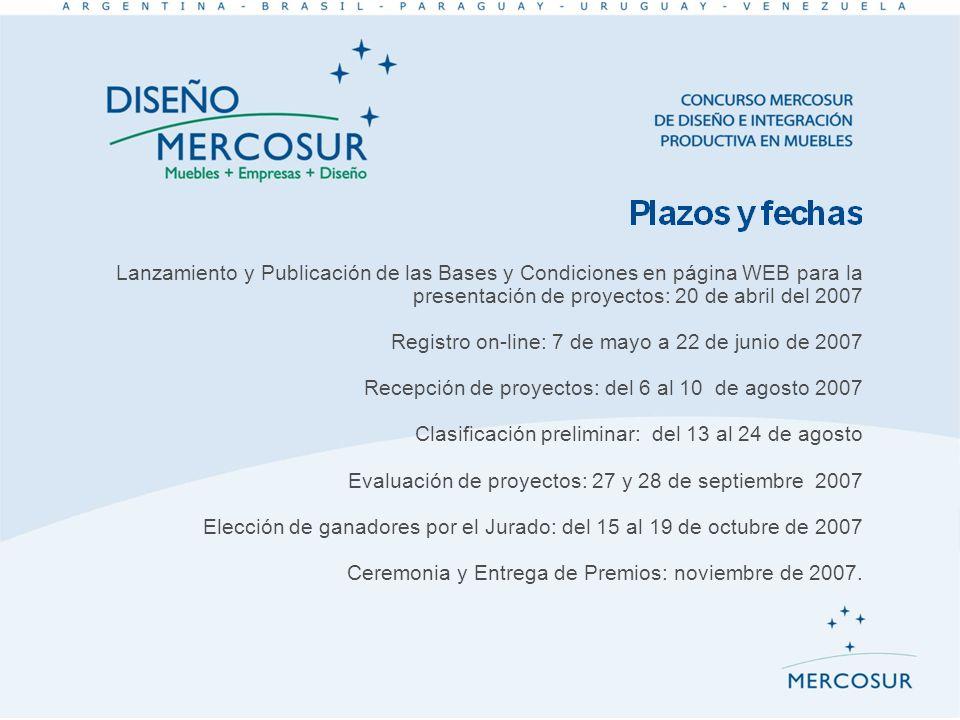 Lanzamiento y Publicación de las Bases y Condiciones en página WEB para la presentación de proyectos: 20 de abril del 2007