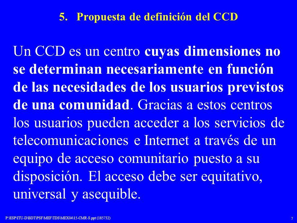 5. Propuesta de definición del CCD