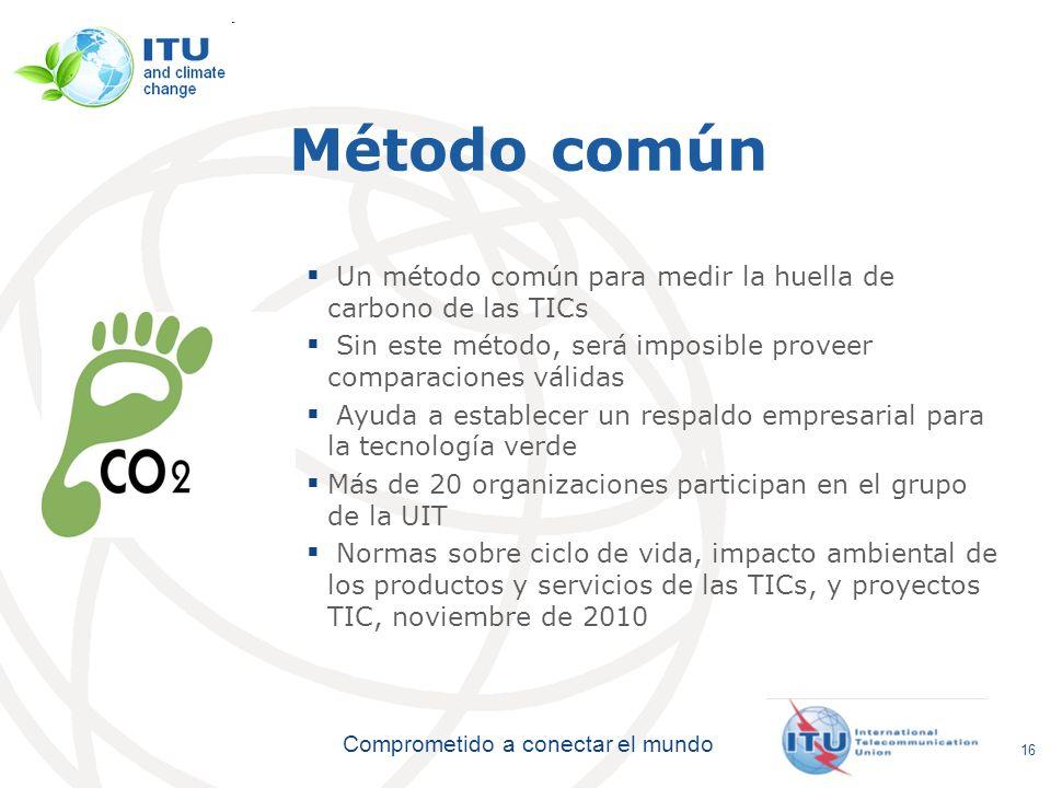 Método comúnUn método común para medir la huella de carbono de las TICs. Sin este método, será imposible proveer comparaciones válidas.