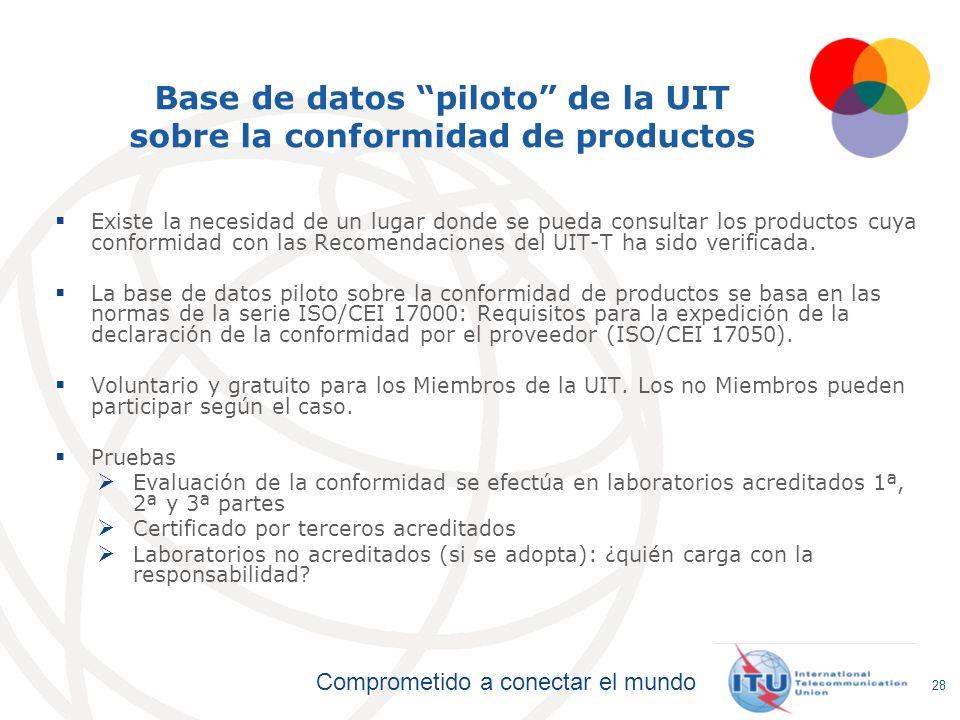 Base de datos piloto de la UIT sobre la conformidad de productos