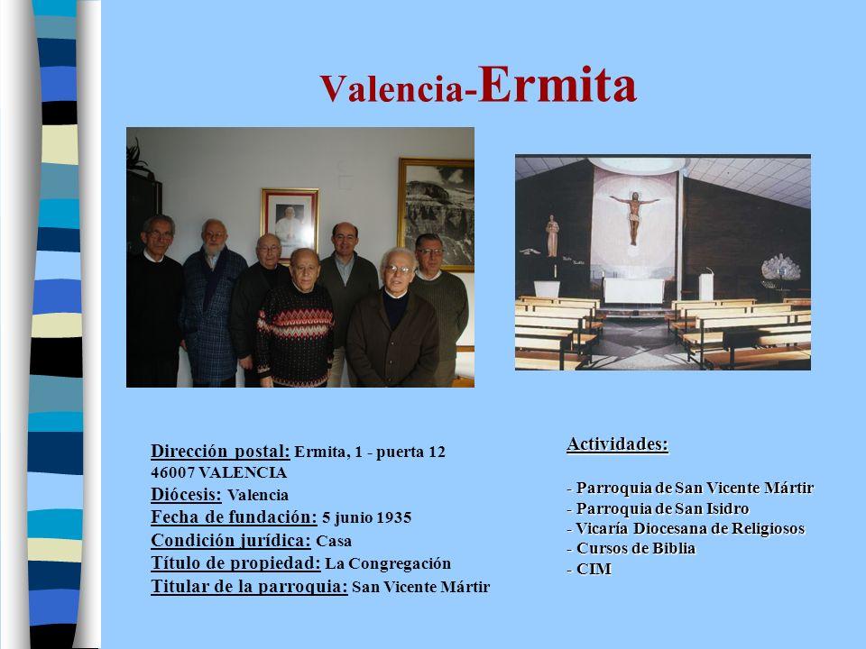 Valencia-Ermita Actividades: Dirección postal: Ermita, 1 - puerta 12