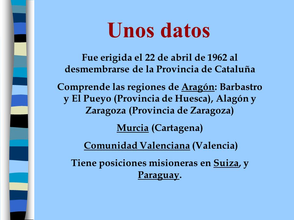 Unos datos Fue erigida el 22 de abril de 1962 al desmembrarse de la Provincia de Cataluña.