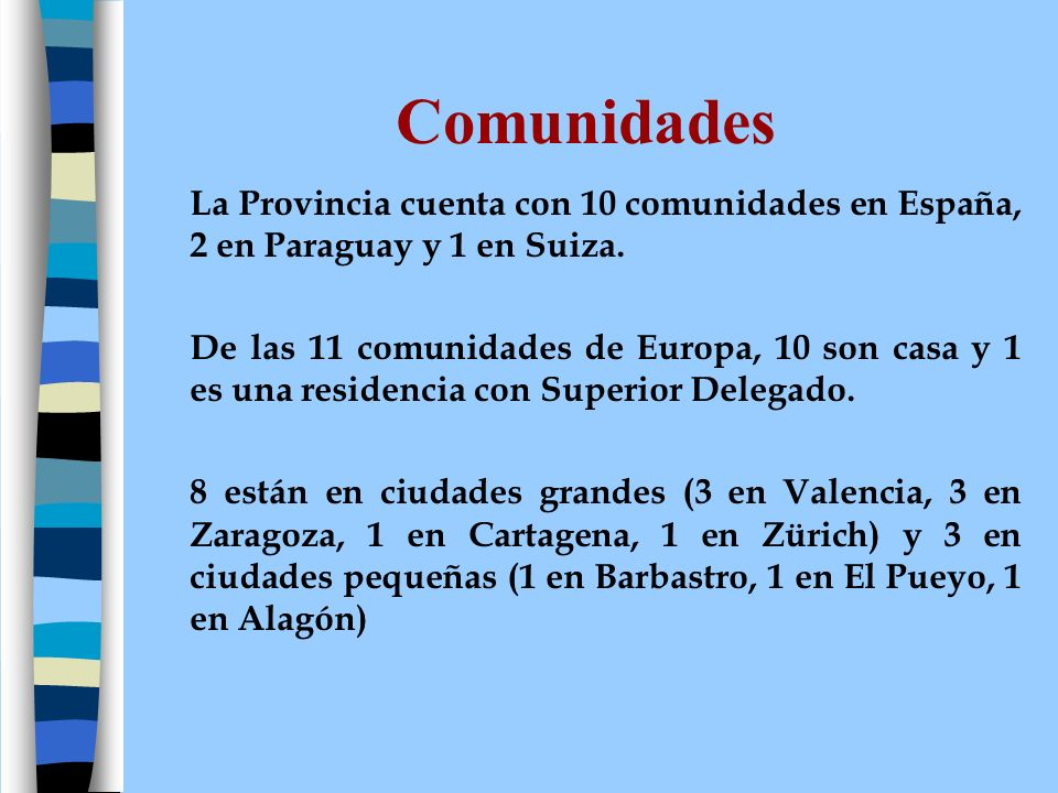 Comunidades La Provincia cuenta con 10 comunidades en España, 2 en Paraguay y 1 en Suiza.