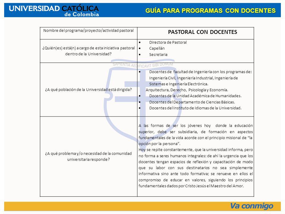GUÍA PARA PROGRAMAS CON DOCENTES PASTORAL CON DOCENTES