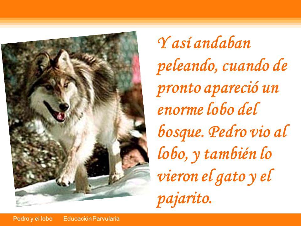 Y así andaban peleando, cuando de pronto apareció un enorme lobo del bosque.