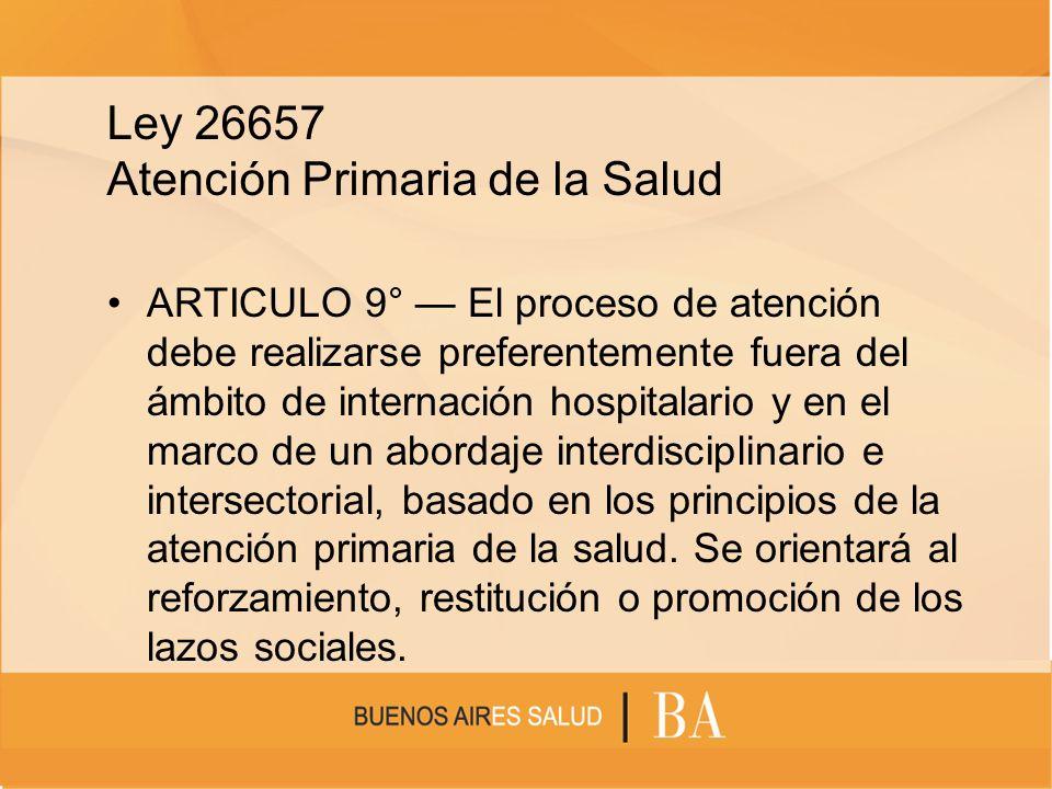 Ley 26657 Atención Primaria de la Salud