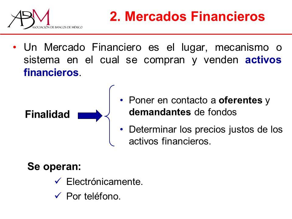 2. Mercados Financieros Un Mercado Financiero es el lugar, mecanismo o sistema en el cual se compran y venden activos financieros.
