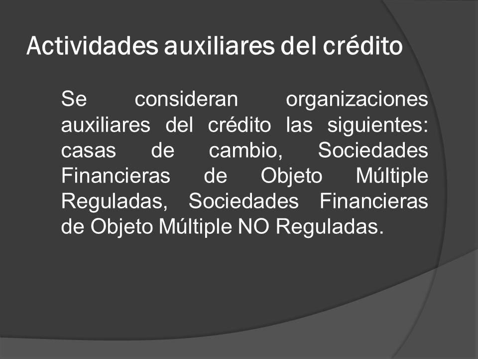 Actividades auxiliares del crédito