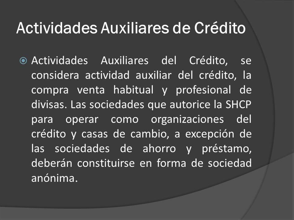 Actividades Auxiliares de Crédito