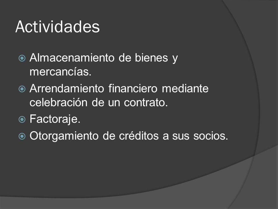 Actividades Almacenamiento de bienes y mercancías.