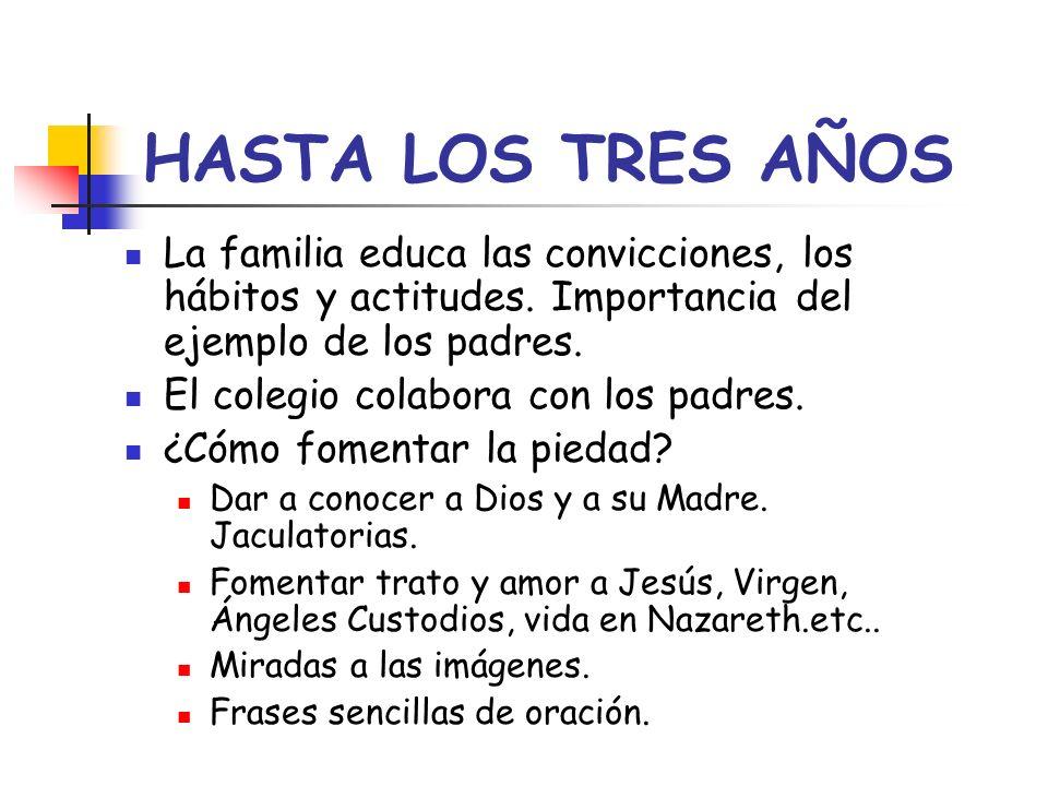 HASTA LOS TRES AÑOS La familia educa las convicciones, los hábitos y actitudes. Importancia del ejemplo de los padres.