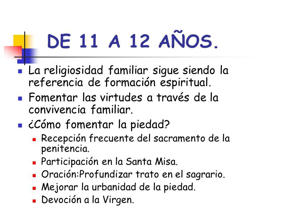 DE 11 A 12 AÑOS. La religiosidad familiar sigue siendo la referencia de formación espiritual.