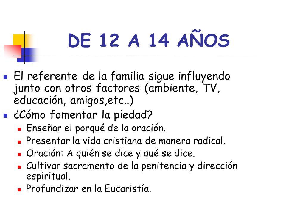 DE 12 A 14 AÑOS El referente de la familia sigue influyendo junto con otros factores (ambiente, TV, educación, amigos,etc..)