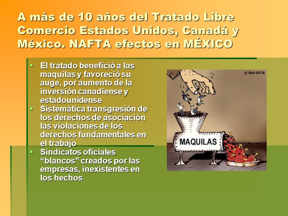 A más de 10 años del Tratado Libre Comercio Estados Unidos, Canadá y México. NAFTA efectos en MÉXICO