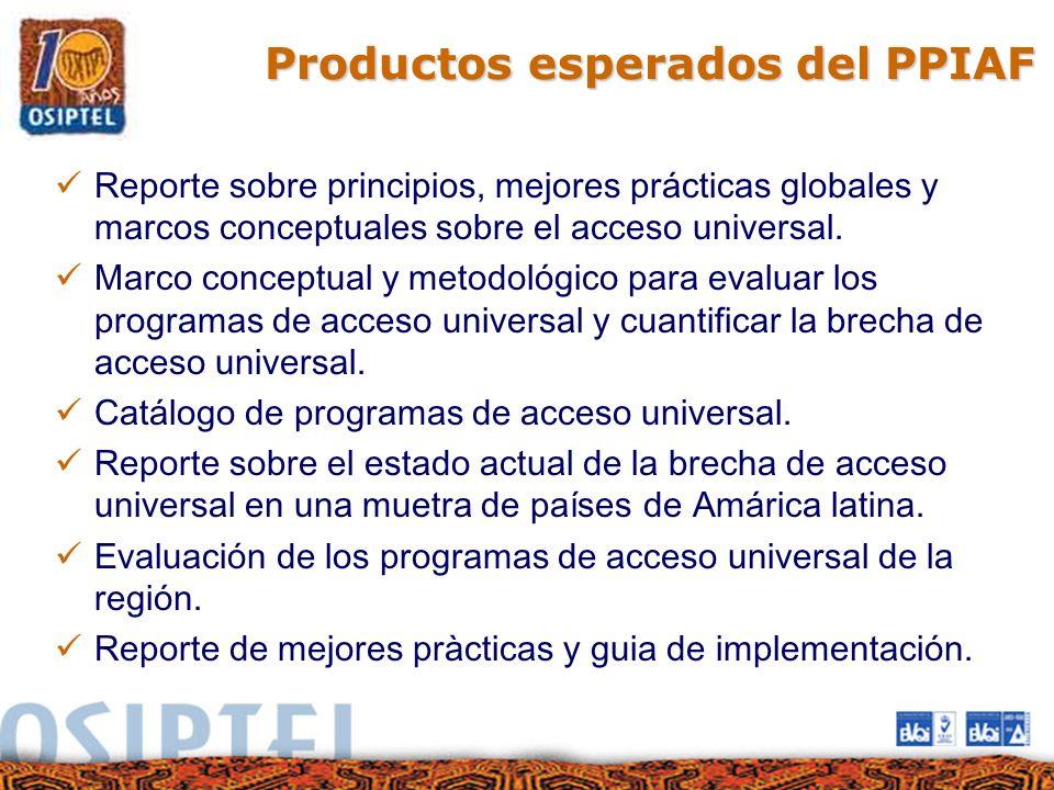 Productos esperados del PPIAF