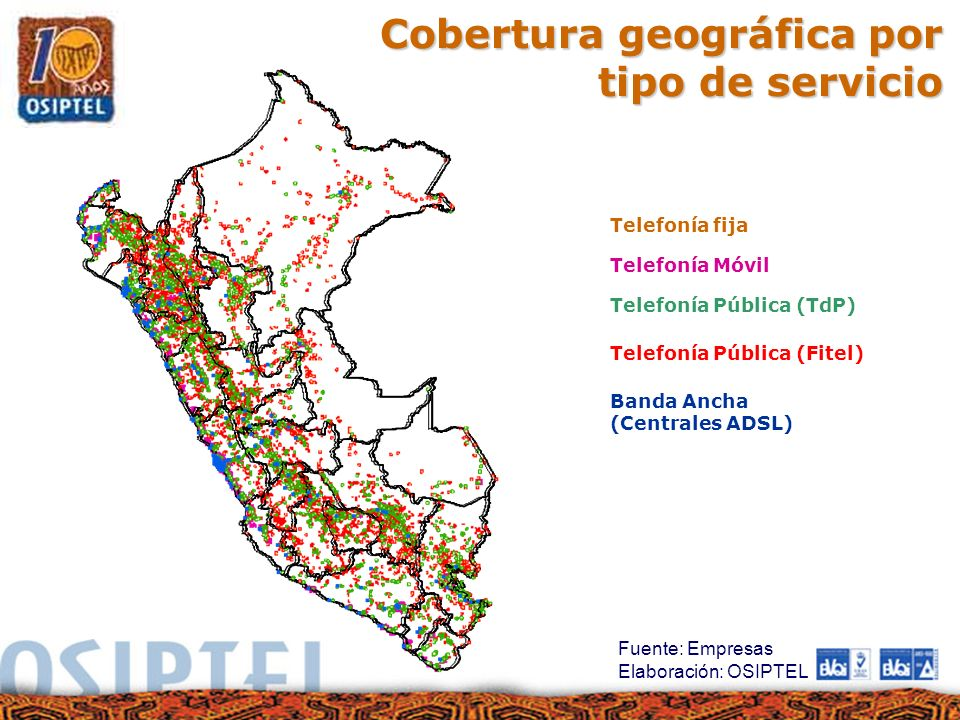 Cobertura geográfica por tipo de servicio