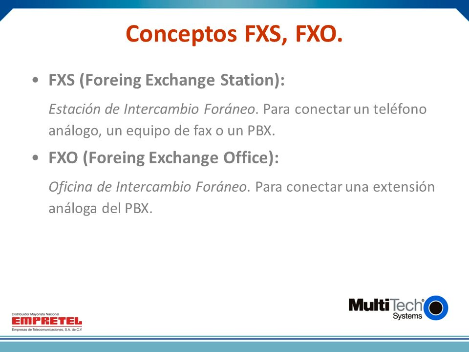 Conceptos FXS, FXO. FXS (Foreing Exchange Station):