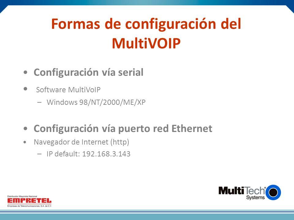 Formas de configuración del MultiVOIP