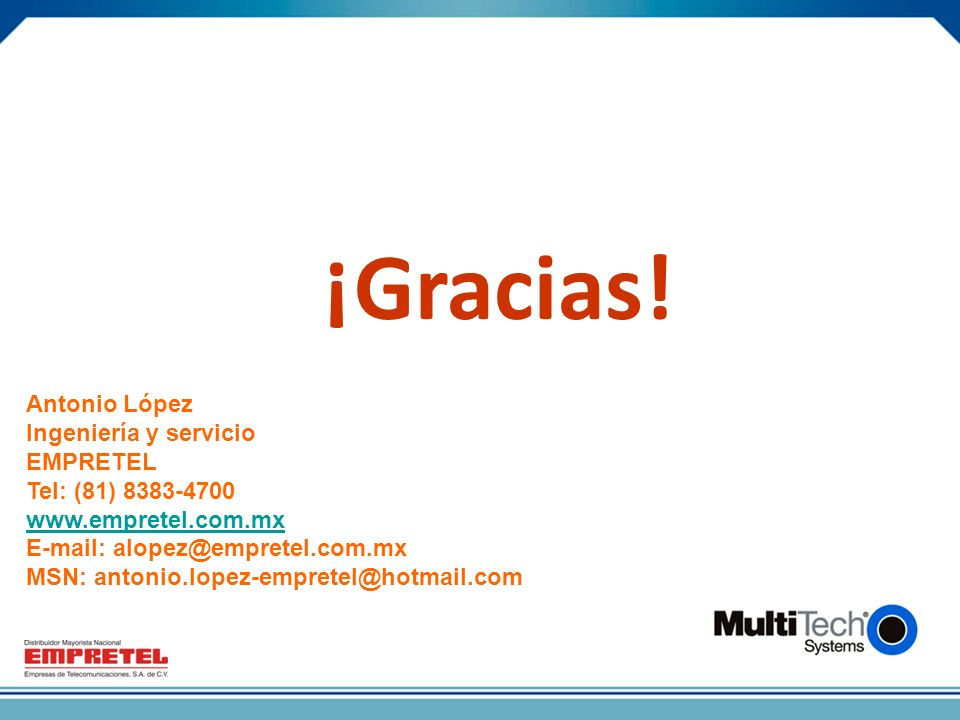 ¡Gracias! Antonio López Ingeniería y servicio EMPRETEL