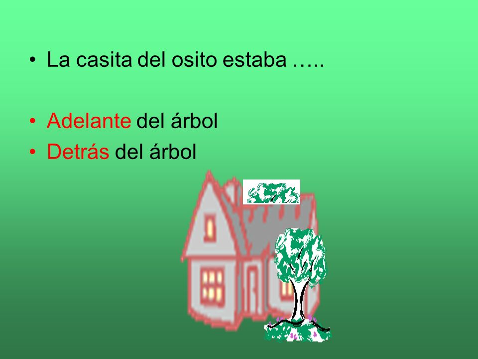 La casita del osito estaba …..