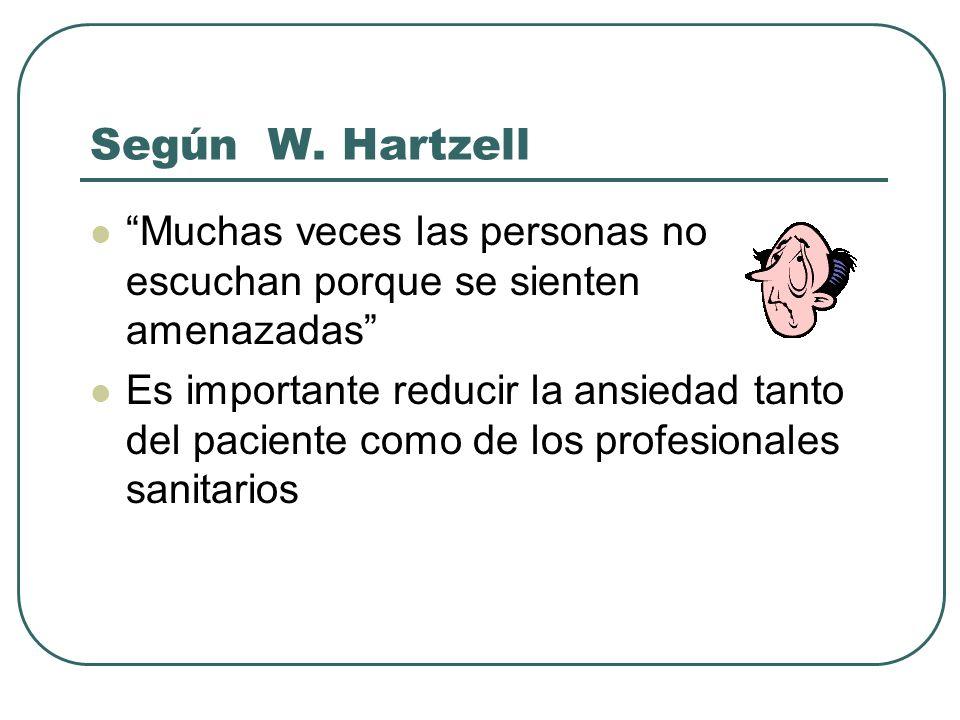Según W. Hartzell Muchas veces las personas no escuchan porque se sienten amenazadas