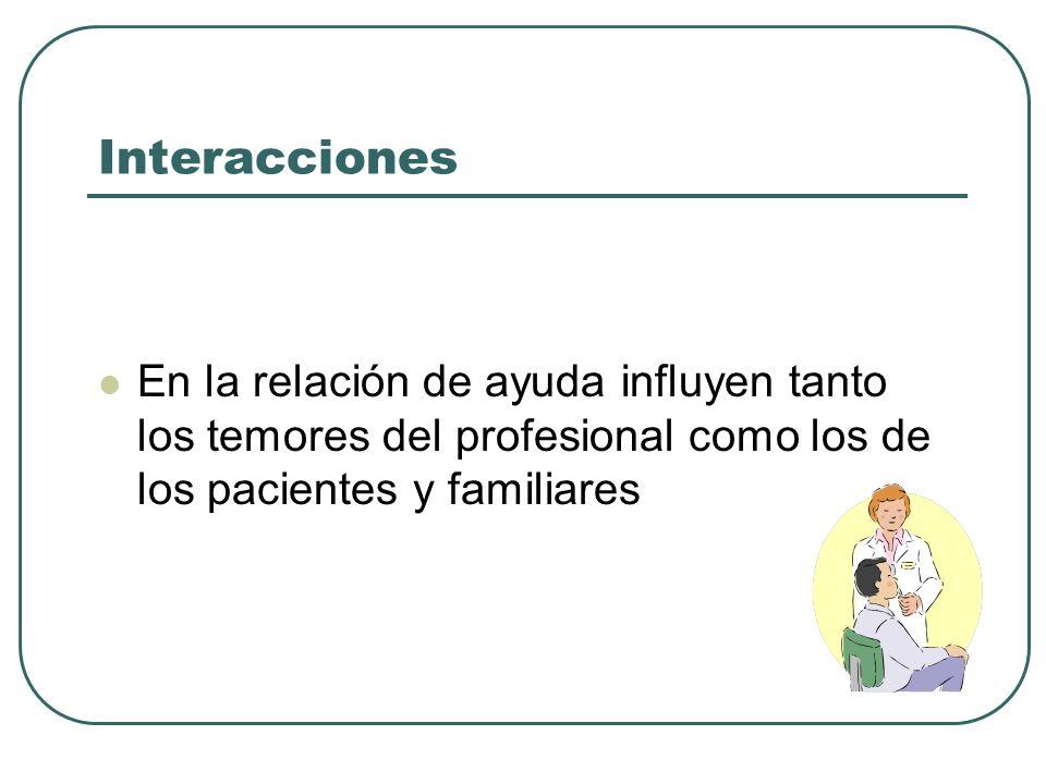 Interacciones En la relación de ayuda influyen tanto los temores del profesional como los de los pacientes y familiares.